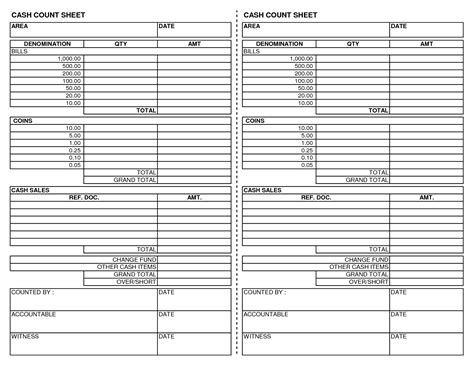 money count sheet template 14 best images of printable check register worksheet