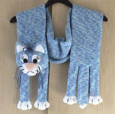 knitting pattern cat scarf knitted blue cat scarf diy pinterest