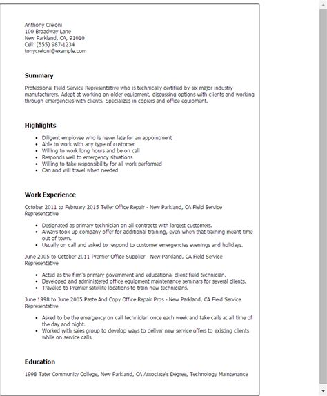 field technician resume sles field resume sles 28 images careers advisor resume