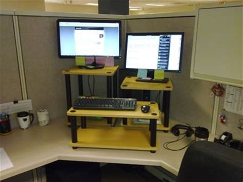 Convert Cubicle To Standing Desk by Diy Stand Up Desk For The Office Assemble Shelving