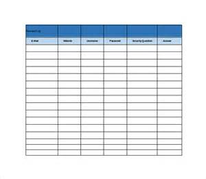 Spreadsheets Templates by 9 Password Spreadsheet Templates Free Word Excel Pdf