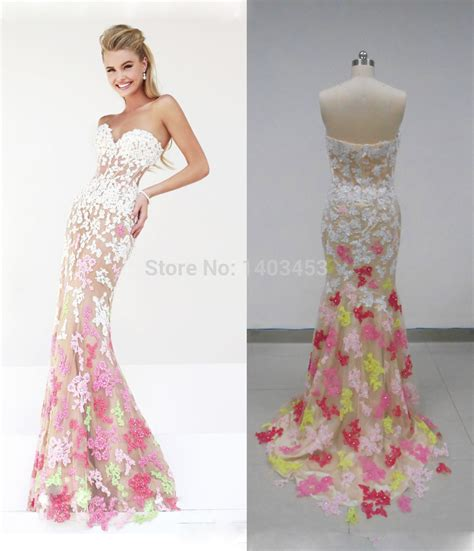 aliexpress buy dress party evening elegant green lace long aliexpress com buy real picture strapless pink yellow