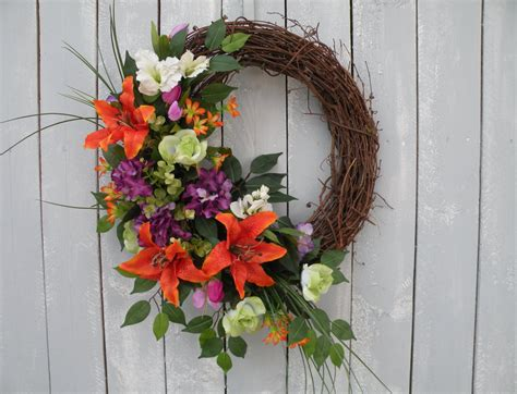 Front Door Wreaths Tropical Wreath Front Door Wreath Designer By Kathyswreathshop