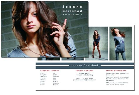 Comp Card Template Indesign by Comp Card Template E Commercewordpress