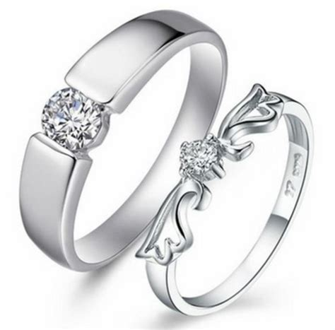 rings platinum plated sterling silver wedding ring pair