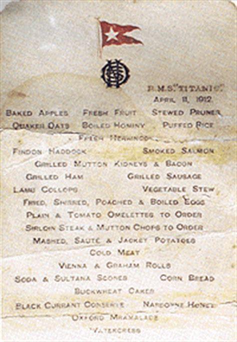 titanic breakfast menu titanic first class breakfast menu titanic quot unsinkable