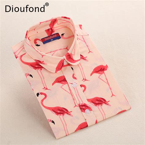 Flamingo Longsleeve Shirt 1 dioufond flamingo animal print sleeve blouse shirt palm leaf autumn casual blouses