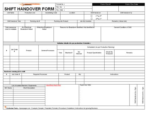 shift handover template excel commonpence co