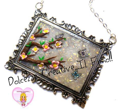 fiori di ciliegio e farfalle collana con cammeo quadro stile japan con fiori di