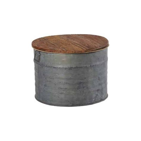 Table Basse Zinc by Table Basse Ronde En Zinc Et Plateau En Teck D62xh44cm