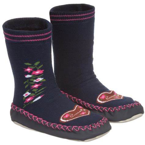 slipper socks playshoes blue cotton slipper socks childrensalon