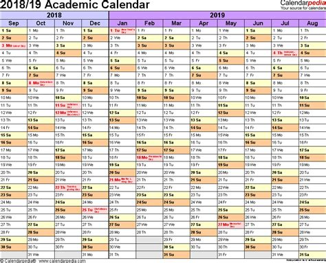 2018 Word Calendar Academic Calendars 2018 2019 As Free Printable Word Templates