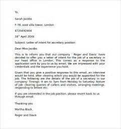 Letter of Intent for a Job   9  Download Free Documents in
