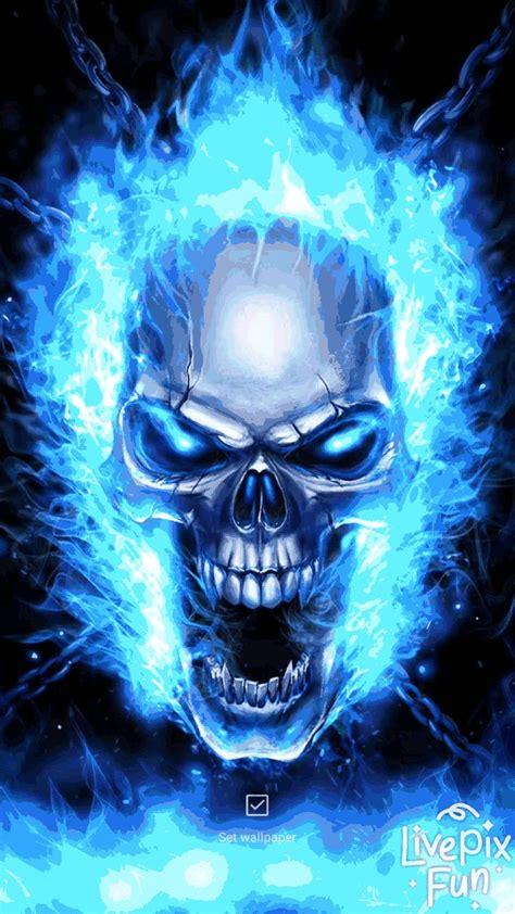 skull  wallpaper blue flame skull  wallpaper