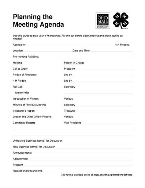 robert rules of order meeting agenda template sle