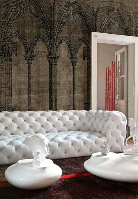 Living Room Ideas With White Leather Sofa Living Room Interior Design Decor White Leather Tufted