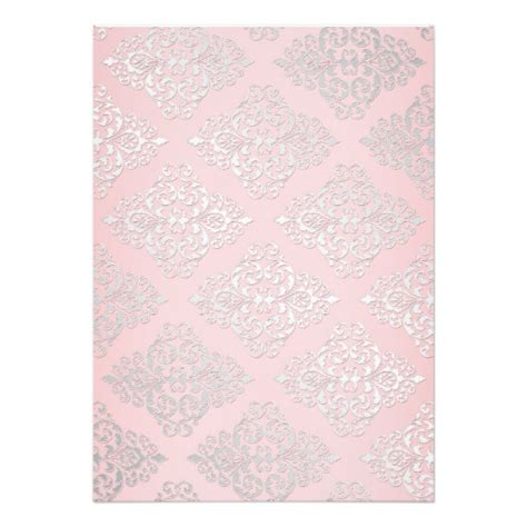 silver glitter bridal shower invitations pink silver glitter damask bridal shower invitation card ladyprints