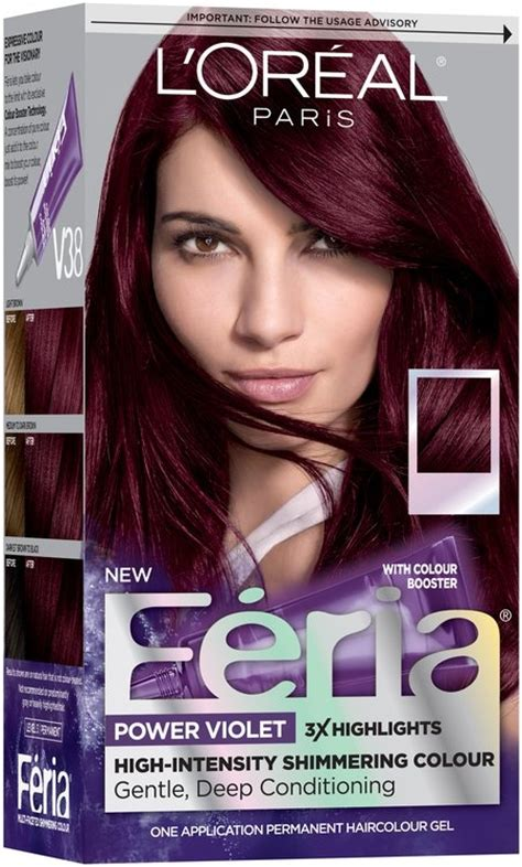 loreal permanent colour permanent colour feria preference pakcosmetics l or 233 al 174 feria 174 power violet v38 violet hair color 1 kit box reviews find
