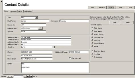access database contact manager 1 by access databases