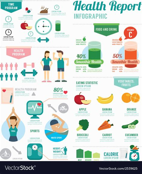 sports infographics templates infographic health sport and wellness template vector image