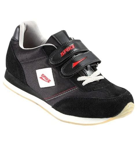 spike sport shoes spike black synthetic leather sport shoes price in india