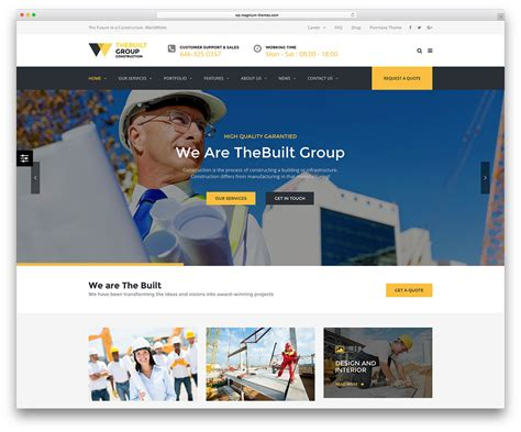 46 Best Construction Company Wordpress Themes 2018 Colorlib Website Construction Template