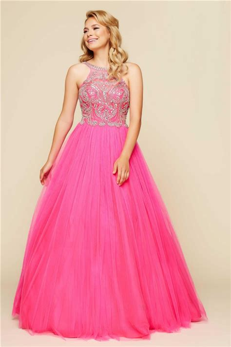 beaded evening gown gown open back pink tulle beaded prom dress with