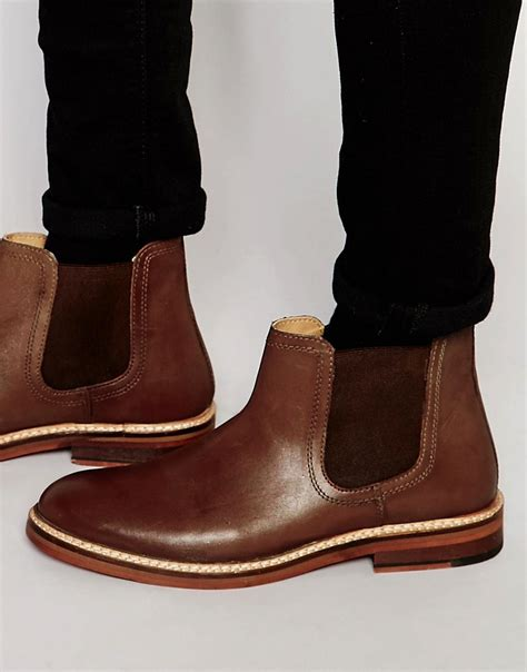 asos asos chelsea boots in leather with chunky sole at asos