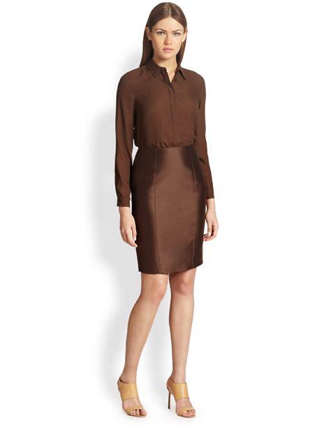 Maxmara Silk Choco max mara milo silk blouse in brown lyst