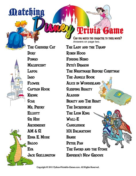 printable animal trivia disney printable party games disney trivia match game