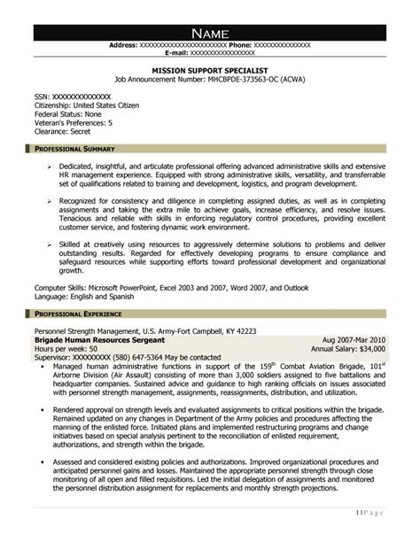 Technical Support Specialist Resume Summary by Free Federal Resume Sle From Resume Prime