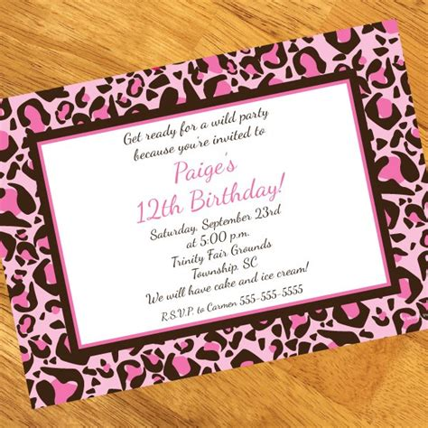 leopard print invitations templates pink leopard print birthday invitations