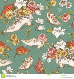 seamless vintage flowers and shoes background stock vector