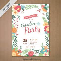 garden invitation with a floral frame vector free