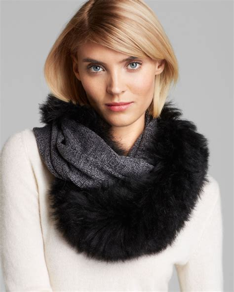 ugg loop scarf with shearling sheepskin collar in gray