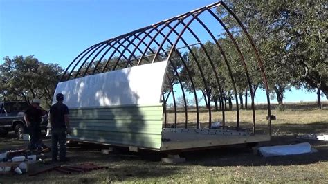 arch cabin build process of a 14 x 20 arched cabin on a skid