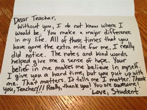 Thank You Letter After Kindergarten A Sincere Thank You Note Is Usually The 1 Thing Teachers To Get From Parents Students
