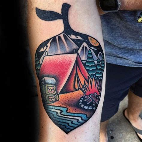 call of the wild tattoo 50 tent designs for great outdoors ink ideas