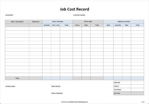 Job Cost Record Template Accounting Project Management Templates Invoice Template Job Cost Template