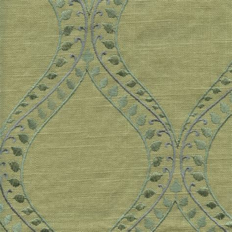 embroidered linen drapery fabric society lake lemon grass green embroidered linen drapery