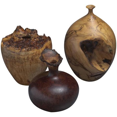 Turned Vase by Set Of Three Turned Burl Wood Vases Hap Sakwa Pisani