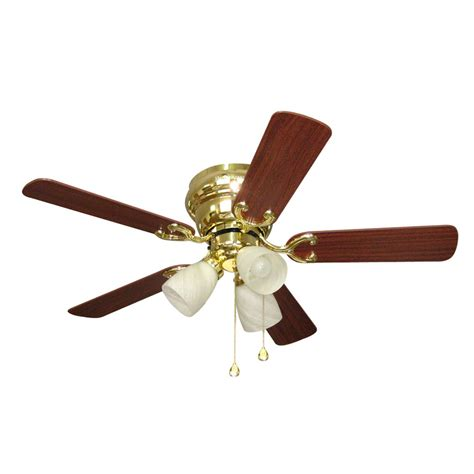 Shop Harbor Breeze Cheshire Ii 42 In Polished Brass Flush Brass Ceiling Fans With Lights