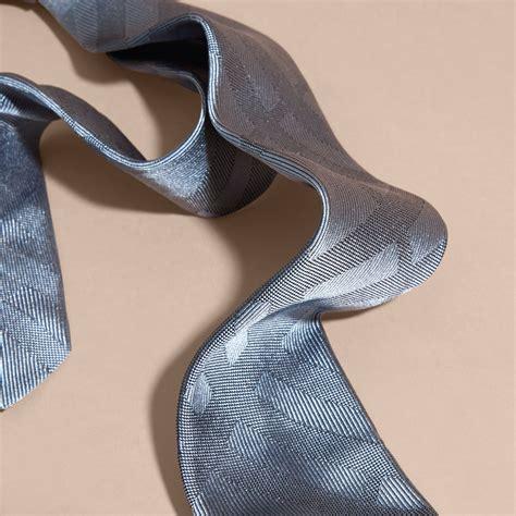 Slim Cut slim cut check silk tie light blue burberry