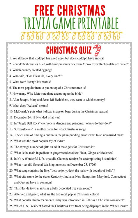 25 days of christmas office activities printable trivia merry