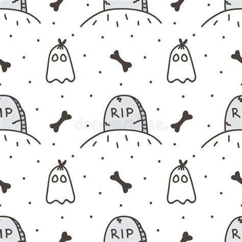 black ghost pattern spooky halloween seamless pattern background with