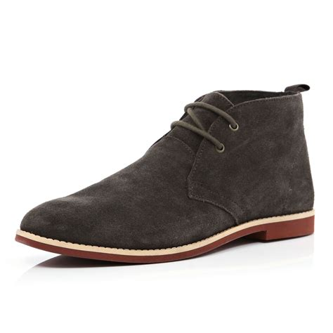 river island brown suede lace up desert boots in brown for