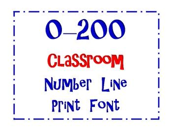 printable poster size number line 0 200 full classroom size number line print font by