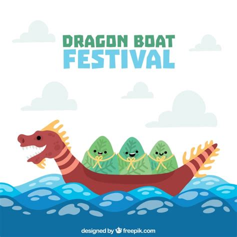 dragon boat cartoon images dragon boat festival background vector free download
