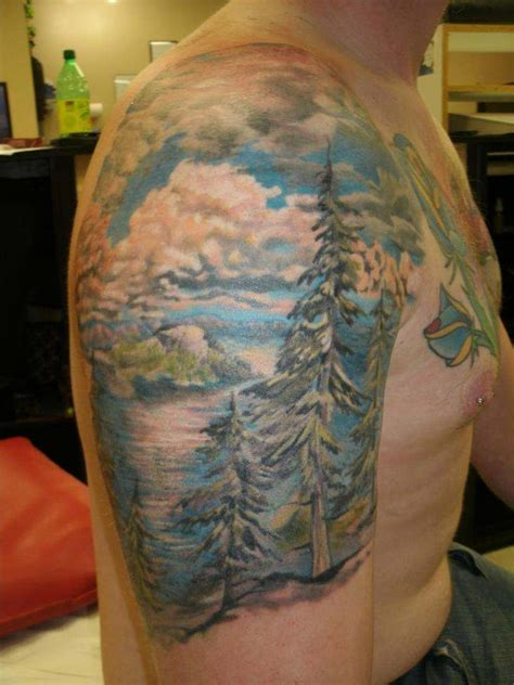 mountain scene tattoo 50 sleeve mountain tattoos