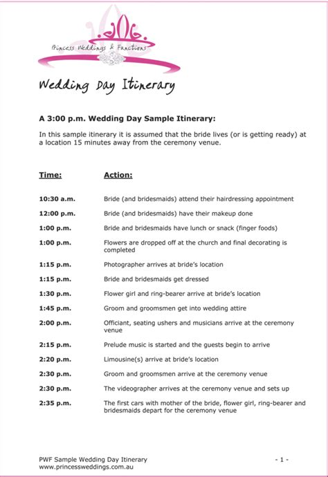 wedding itinerary exle 43147768 703x1024 wedding